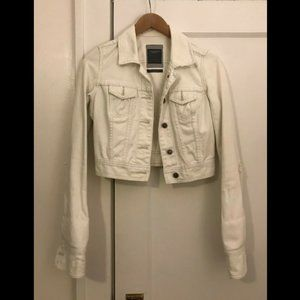 Vintage A&F Cropped Distressed White Denim Jacket